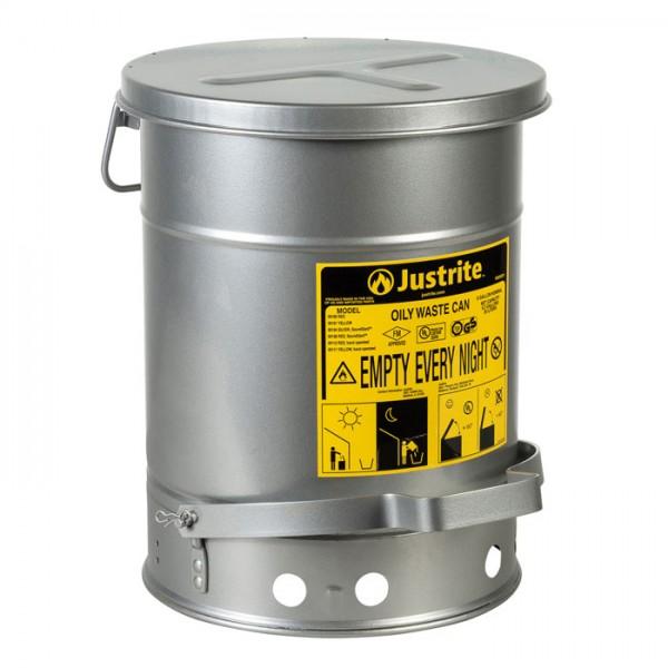 Sicherheits-Abfallbehälter für brennbare Stoffe, 23 Liter, SoundGard in silber