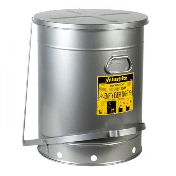 Sicherheits-Abfallbehälter für brennbare Stoffe, 38 Liter, SoundGard in silber