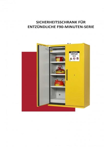 EN Entflammbarer Sicherheitsschrank, F90 Minuten, 220 Liter, 2 Türen